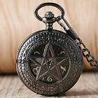 Fashion Pentagram Fob Pendant Mechanical Hand Wind Pocket Watch Mens Womens Gift