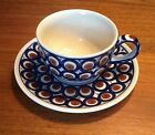 Boleslawiec Polish Pottery Stoneware Cup and Saucer, 8oz, Dark Blue Brown Mint!