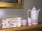 Rorstrand Coffee Pot, Sugar Bowl, Creamer ++ Plus 6 Vintage Hand Painted Towels