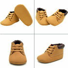 Infant Toddler Boy Baby Crib Boots Newborn Soft Sole Leather Shoes Khaki Warm