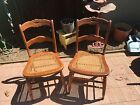 Gorgeous Antique Chairs with Cane Seat Carved Flowers