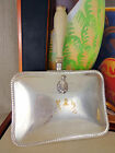 Vintage Silver Plate Silent butler Crumb Covered Tray Handled Dish Box Crest Vtg