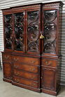 KARGES BREAKFRONT CHINA CABINET HUTCH SECRETARY DESK CONVEX GLASS MAHOGANY