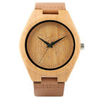 Genuine Leather Tiger Pattern Mens Wrist Watch Nature Wood Fashion Unique Gift
