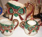 Holiday Leaves by Fitz & Floyd Pitcher, & creamer & sugar-MInt