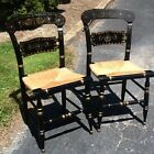 2 Vtg Ethan Allen Hitchcock Black / Gold Button Back Stenciled Chairs -Very Good