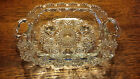 Vintage Indonesia Square Footed Centerpiece Bowl Cut Glass Designs on side panel