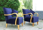 Pair Art Deco Royal Blue Velvet Armchairs, Club Chairs. 1920s Vintage Walnut.