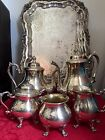 VTG SHERIDAN 6PC SET SILVERPLATE COPPER TEA COFFEE CHOCOLATE HEAVY ORNATE UNUSED