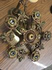 Antique Art Deco Ornate Cast Metal Hanging 5 Light Fixture With Canopy