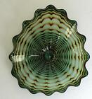 HAND BLOWN GLASS ART WALL PLATTER BOWL green WRAP 7075 ONEIL