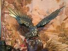 Original Vintage Japanese Birds Cast Iron Statue Hand Painted Hawks 17
