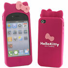 3D Bow Hello Kitty Soft Silicone Rubber Case Cover For Apple iphone 4 4s Cute