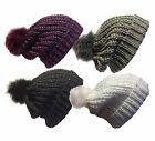 LADIES WOMEN CHUNKY KNITTED SLOUCH BEANIE HAT WITH SPARKLE ACCENT SEQUINS AND FA
