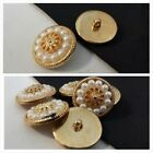 12 gold floral design faux pearl self shank button 25 mm or 30 mm US SHIPPER