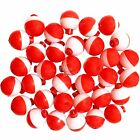 50 100 200pcs Fish WOW 1 Fishing float Snap On Round Floats bobbers Red White