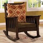 Morrisville Mission Rocker Rocking Chair Removable Fabric Cushion Dark Oak Wood