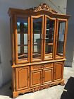 Beautiful 2-Pc K.S Summit Mission Surewood Oak China Hutch Display Cabinet L@@K