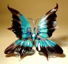 Blown Glass Figurine Murano Art Insect Black and Blue BUTTERFLY