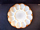 BBQ Snack Serving Plate White with Gold Rim/ Vintage Anchor Hocking Milk Glass D
