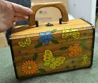 Vintage Garay Painted Wood Box Purse Butterflies And Flowers 1960s