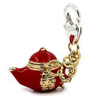 Teapot Clip on Penndant for European Charm Jewelry w/ Lobster Clasp
