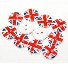 Pkg of 10 UK UNION JACK 2 hole Resin Buttons 3 4 20mm Scrapbook Craft 1714
