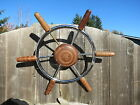 AUTHENTIC 18 inch STAINLESS STEEL WOOD BOAT SHIPS WHEEL SAILBOAT DECOR (#2062)