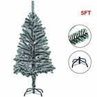 5FT Artificial Christmas Tree Snow Flocked w Stand Holiday Season Indoor Outdoor