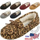 Womens Moccasins Slip On Indoor Outdoor Shoe Slipper Fur Loafer FREE SHIPPING