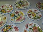 VTG HUGE LOT ITALY POTTERY FLORAL PLATTER PLATE 9 PIECES ROSES ITALIAN