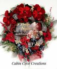 Nativity Christmas Wreath Holy Family Holiday Floral Wall Arrangement red blue