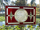 Stained Glass Panel w Depression Glass Windsor Plate Vintage Stained Glass