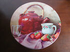 Vintage Still Life Tea Kettle Strawberries Fruit Metal Round Tin Container Box
