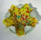 Mid century MURANO Hand Blown Glass Dish Bowl Gold Flecked with Scalloped Edge