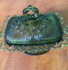 Vintage Indiana Carnival Glass Green Candy Dish with Lid Open Laced