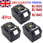 4 PCS 4.5Ah Lithium Ion Battery 18V For Makita BL1830 BL1845 LXT BHP454 New Pack