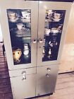 Glass Apothecary, Medical, Vintage Industrial Cabinet.
