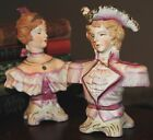 PAIR HALSEY VICTORIAN BUSTS MAN WOMAN MADE IN JPAN PORCELAIN BISQUE PINK GOLD