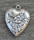 VINTAGE STERLING SILVER PUFFY HEART CHARM Repousse Flower with Flower Border