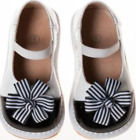 Discontinued Toddler Girls Black  White Paten Squeaky Shoes w Clip on Flower
