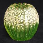 ANTIQUE VICTORIAN MOSER CUT GLASS CRYSTAL GREEN GOLD GILD HAND PAINTED ROSE VASE