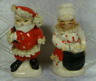Vintage Christmas Napco Santa Claus Salt And Pepper Shaker Spaghetti Trim Japan