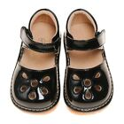Girls Leather Toddler Black Petal Patent Style Squeaky Shoes Sizes 1 to 7