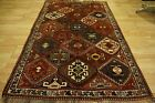 Rare Shiraz Colorful Qashqai Red Navy Red Teal Grey Multicolor Diamonds Rug 4x6+