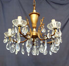 Vintage Italian 5 Light Crystal Chandelier, Chock full of Crystals, Brass, 1930s