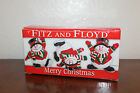 Collectible Set of 3 Fitz and Floyd Merry Christmas Snowman Tumblers In Box!