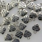 Silver Alloy Metal Small Made with Love Charms 14 Pieces 9mm x 11mm 0407