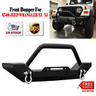 FRONT BUMPER For 87-06 JEEP WRANGLER TJ / YJ BLACK TEXTURED ROCK CRAWLER W/WINCH