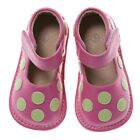 Discontinued Toddler Girls Leather Squeaky Shoes Hot Pink with Lime Green Dots